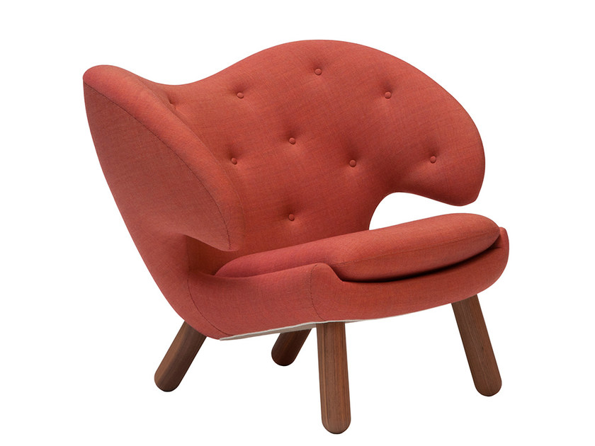 Upholstered fabric easy chair with armrests PELICAN | Tufted easy chair - Onecollection