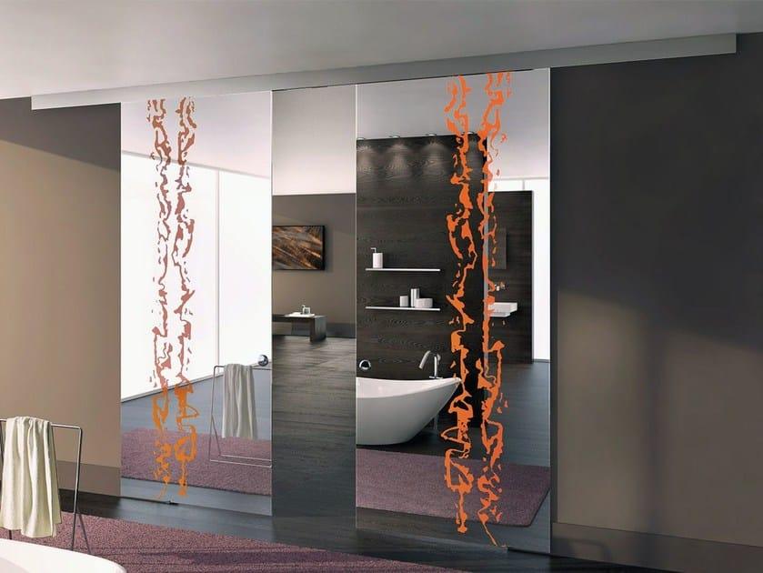 Sandblasted glass sliding door ALPHA FRAMMENTI - Casali