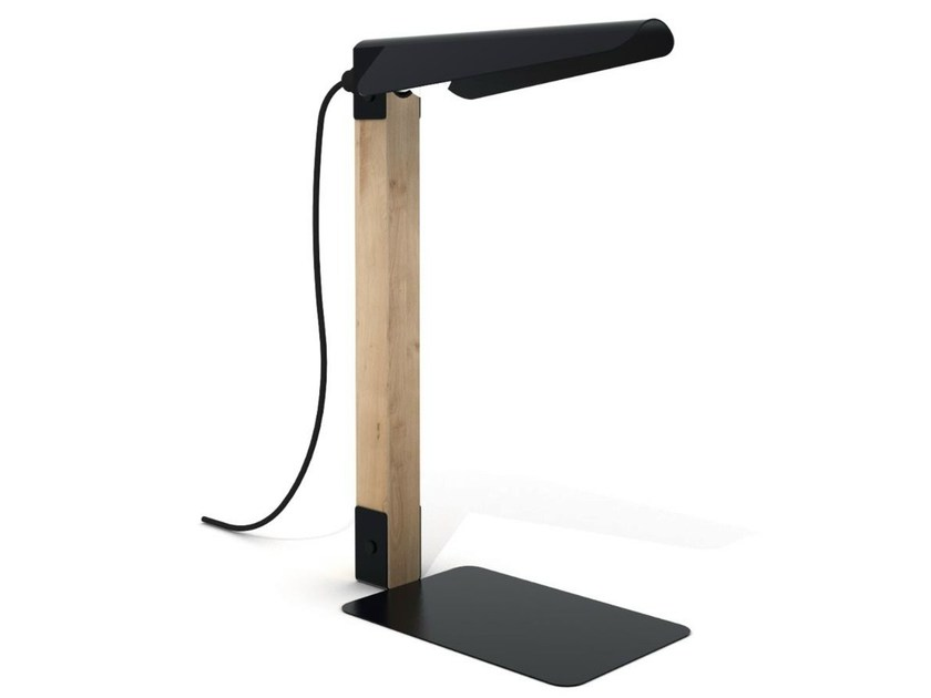 Oak and metal table lamp MERLIN | Table lamp - Universo Positivo