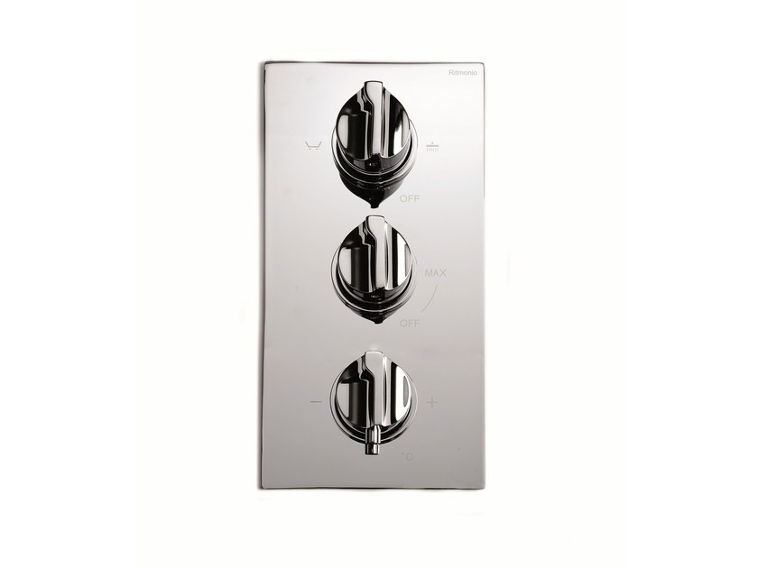 3 hole chrome-plated thermostatic shower mixer TETRIS | 3 hole thermostatic shower mixer - RUBINETTERIE RITMONIO