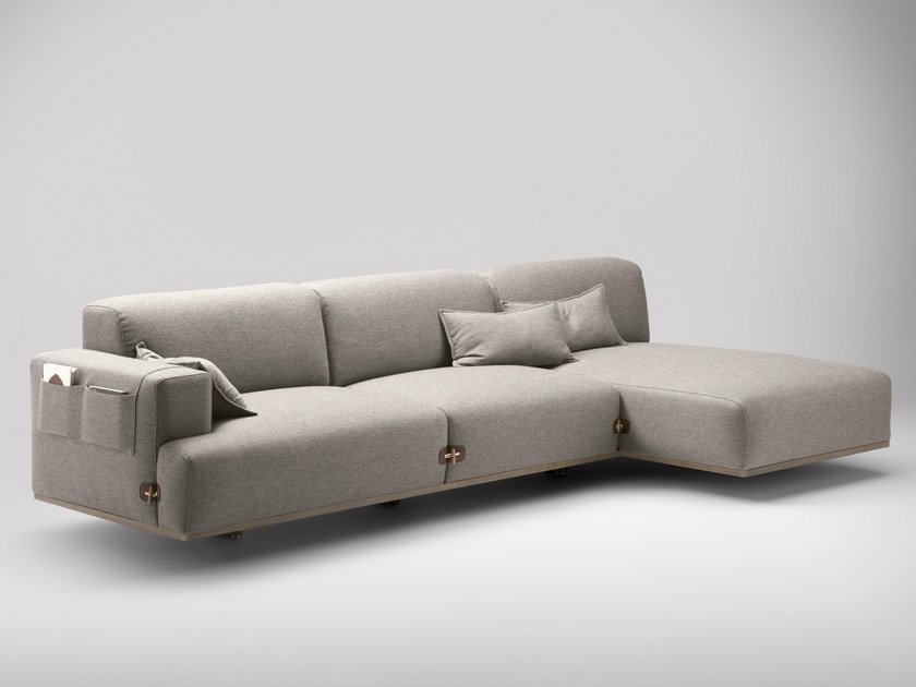 Fabric sofa with chaise longue DUFFLE | Sofa with chaise longue - Bosc