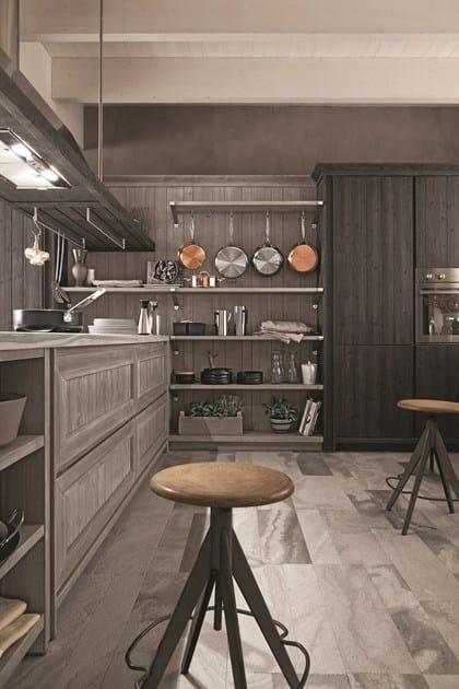 Cucina in abete ardesia con penisola maestrale 02 - Ardesia in cucina ...