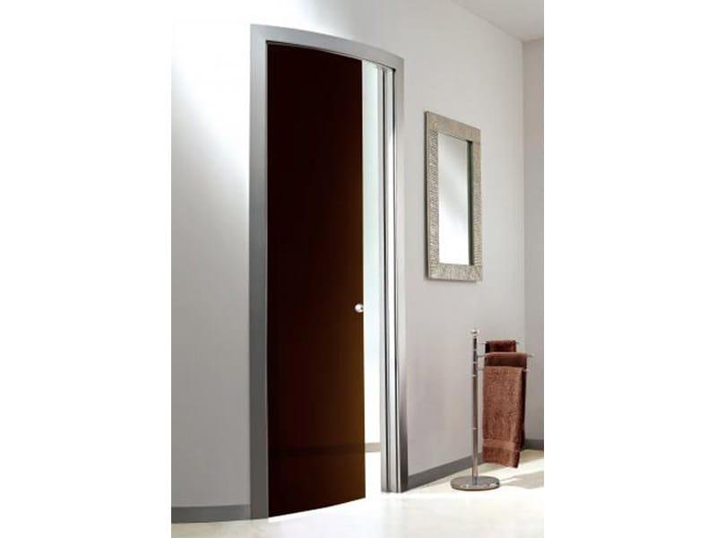 Porta curva scorrevole a scomparsa in vetro colorato cacao - Porta scorrevole curva ...