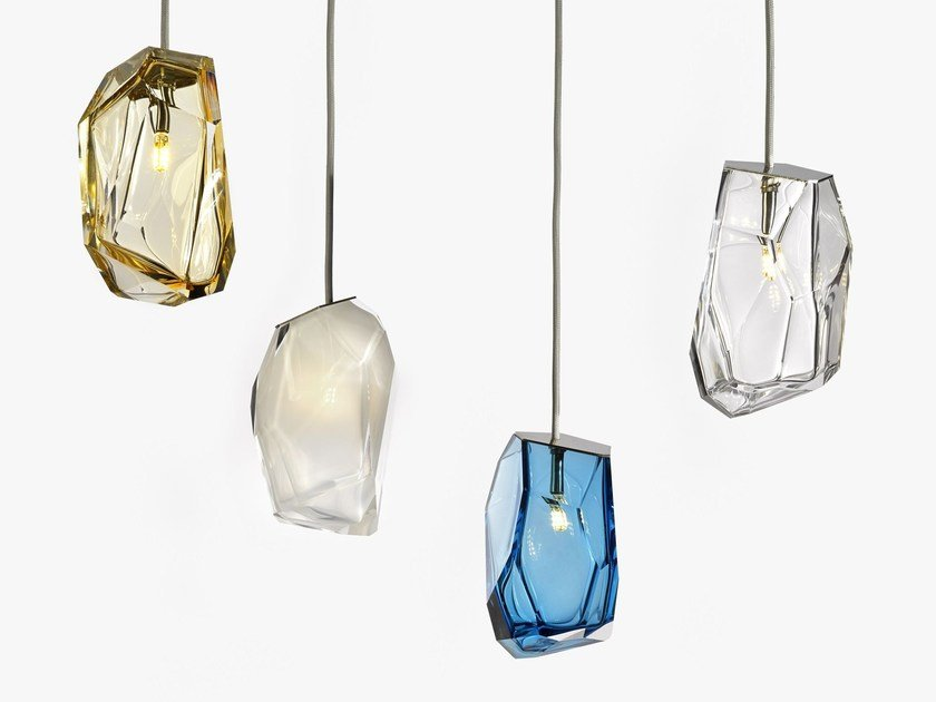blown glass pendant lamp crystal rock by lasvit design