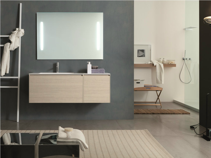 Single wall-mounted HPL vanity unit with mirror LIGHT 45 - COMPOSITION G09 by NOVELLO