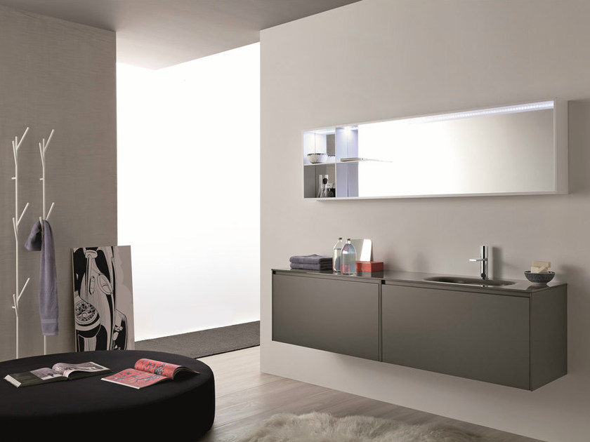 Lacquered single wall-mounted vanity unit LIGHT 45 - COMPOSITION G07 - NOVELLO
