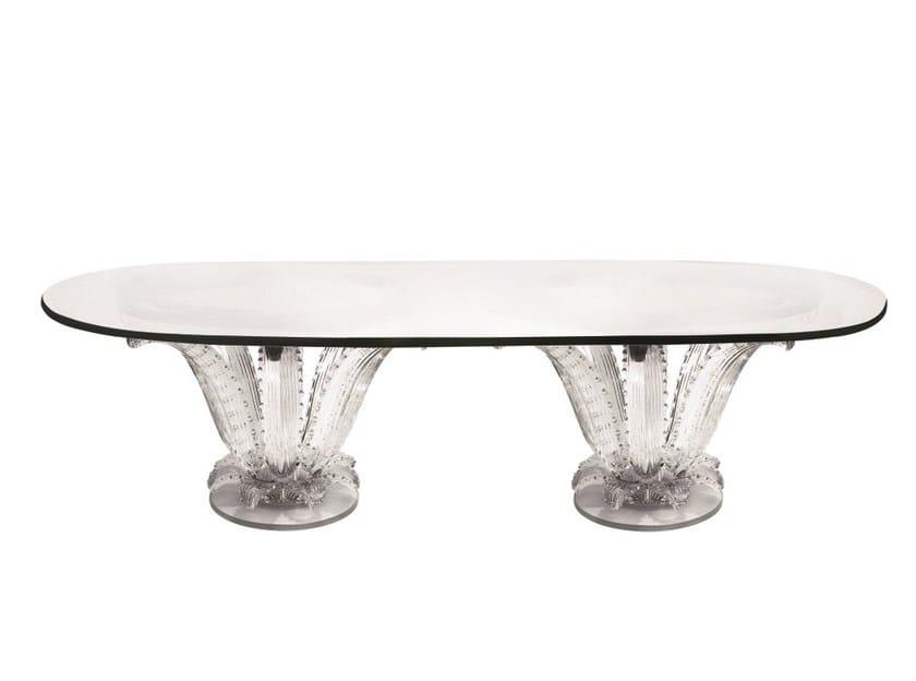 Tavolo ovale in cristallo cactus double collezione - Tavolo in cristallo ovale ...