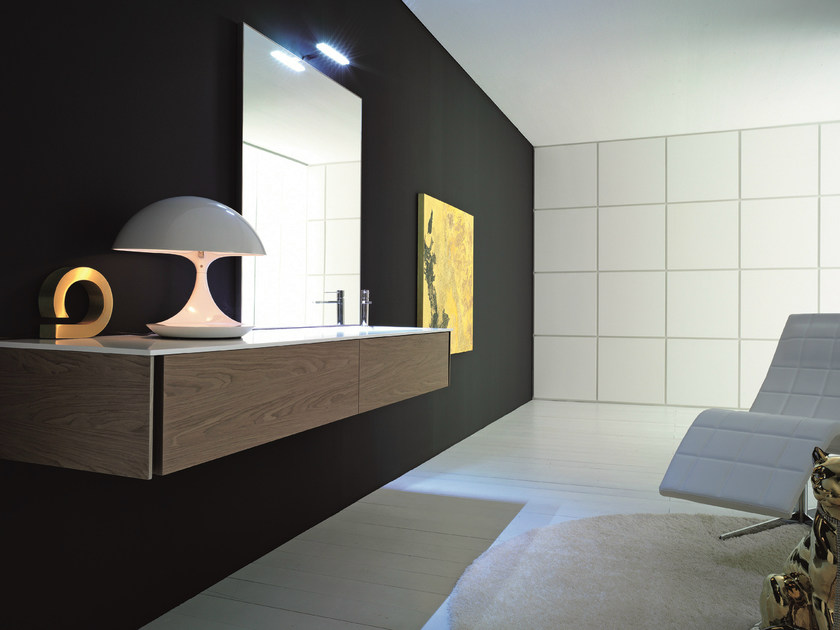 Single wall-mounted walnut vanity unit with mirror MAX - COMPOSITION X15 - NOVELLO