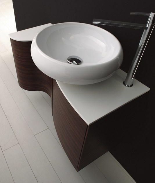Floor-standing single wall-mounted rosewood vanity unit MAX - COMPOSITION X13 - NOVELLO