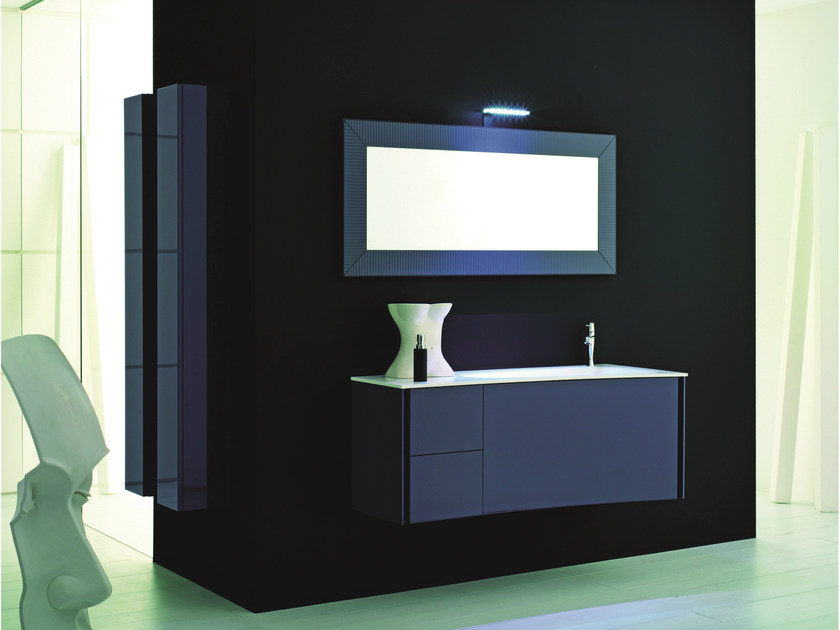 Lacquered single wall-mounted vanity unit MAX - COMPOSITION X10 - NOVELLO