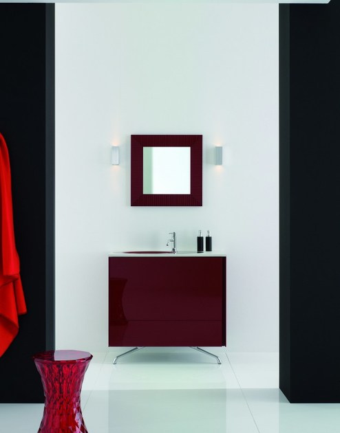 Lacquered single vanity unit with mirror MAX - COMPOSITION X08 - NOVELLO