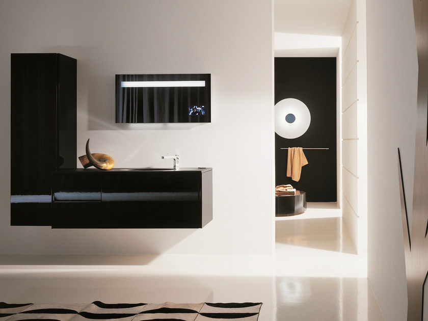 Lacquered wall-mounted vanity unit with mirror MAX - COMPOSITION X02 - NOVELLO