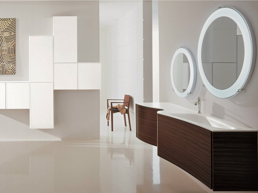 Single wall-mounted rosewood vanity unit with mirror MAX - COMPOSITION X01 - NOVELLO