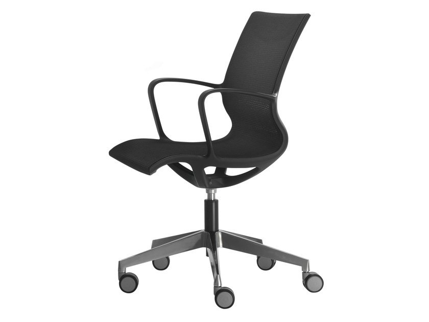 Task chair with 5-Spoke base with armrests with casters ZERO | Task chair with casters - Inclass Mobles