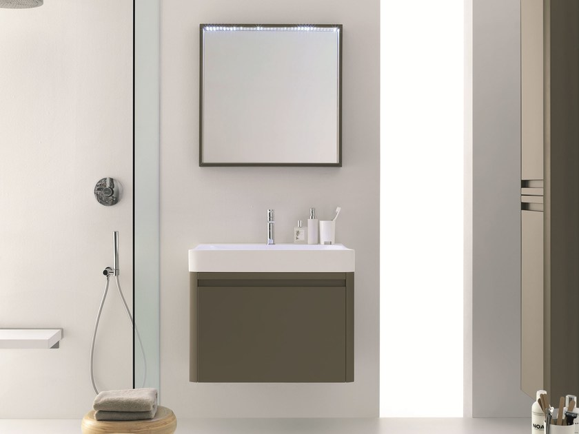 Lacquered wall-mounted vanity unit with mirror SIRIO - COMPOSITION S04 - NOVELLO