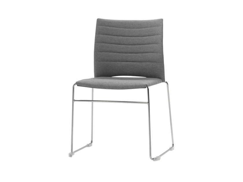 Sled base upholstered stackable chair SLIM | Upholstered chair - Inclass Mobles
