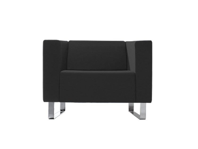 Sled base upholstered armchair with armrests ÁVALON | Armchair - Inclass Mobles