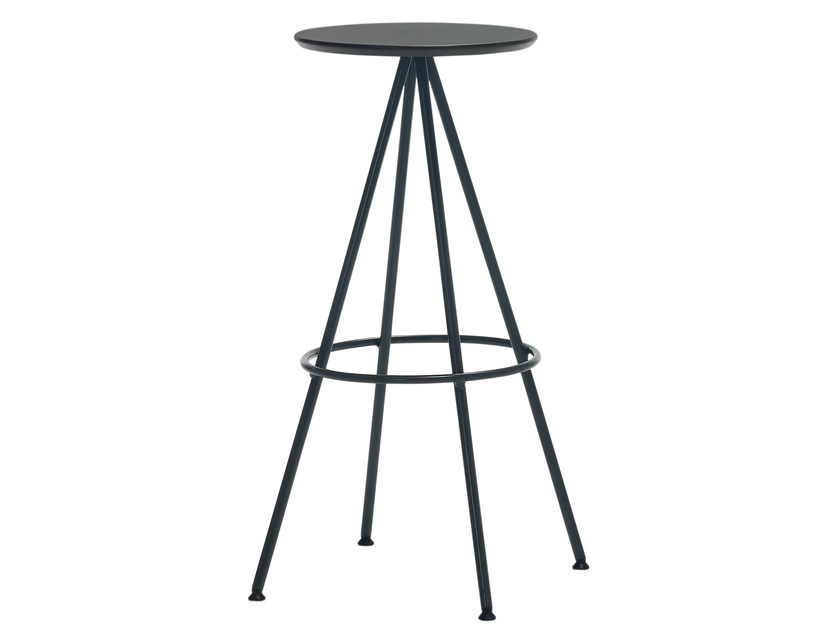 High trestle-based wooden stool SUN | High stool - Inclass Mobles