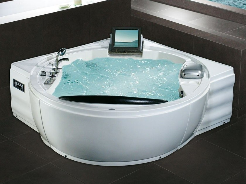 Baignoire 2 places d 39 angle hydromassage bl 508 luxury by beauty luxury - Baignoire angle 2 places ...