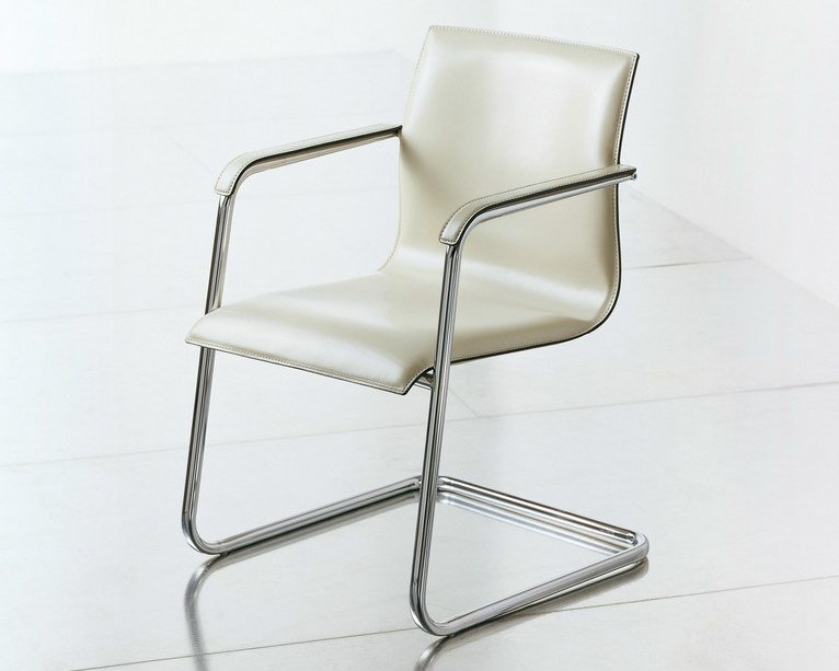Cantilever leather reception chair KX EXECUTIVE | Reception chair by FANTONI
