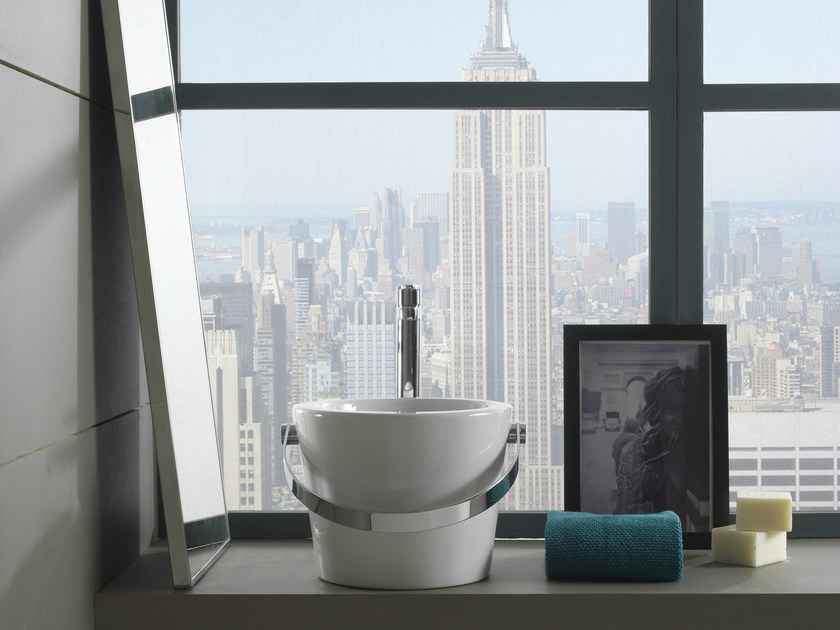 Countertop round ceramic washbasin BUCKET | Countertop washbasin - Scarabeo Ceramiche