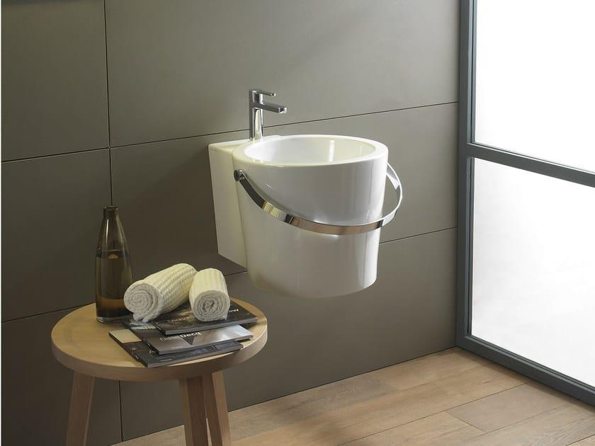 Wall-mounted ceramic washbasin BUCKET   Wall-mounted washbasin - Scarabeo Ceramiche