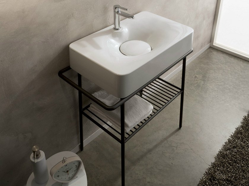 Countertop ceramic washbasin with towel rail FUJI | Countertop washbasin - Scarabeo Ceramiche