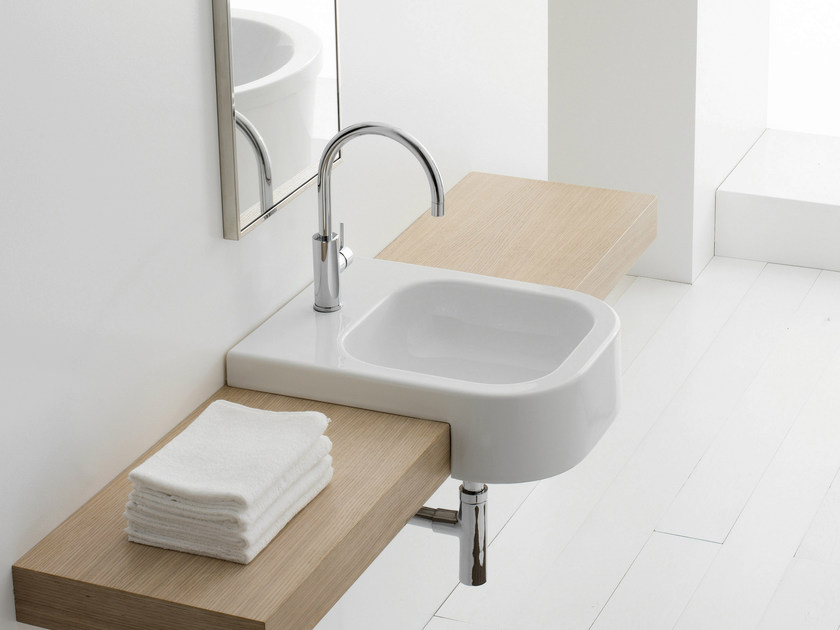 Semi-inset rectangular ceramic washbasin NEXT 40D - Scarabeo Ceramiche