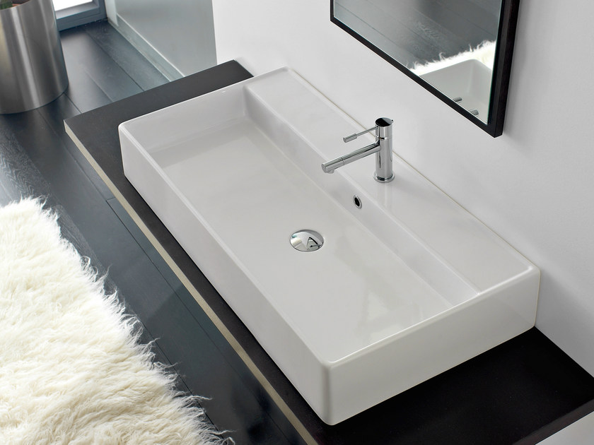 Countertop rectangular ceramic washbasin TEOREMA 100R A - Scarabeo Ceramiche