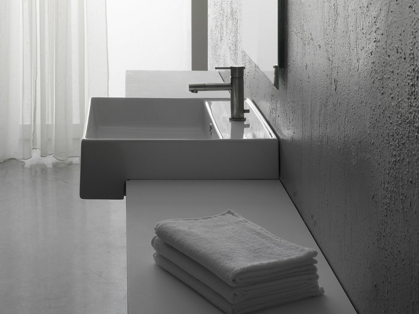 Semi-inset square ceramic washbasin TEOREMA 46D - Scarabeo Ceramiche