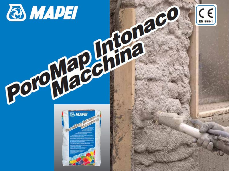 Renovating and de-humidifying additive and plaster POROMAP INTONACO MACCHINA by MAPEI