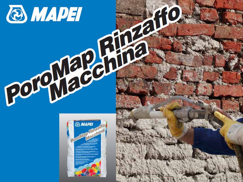 Renovating and de-humidifying additive and plaster POROMAP RINZAFFO MACCHINA - MAPEI