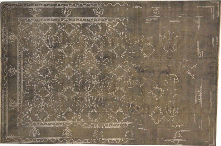 Patterned rectangular cotton rug FUSION DARK GRAY & SILVER - Mohebban