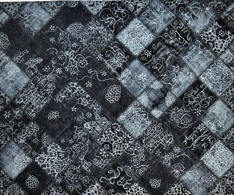 Patchwork rectangular cotton rug FUSION PATCH BLACK & SILVER by Mohebban