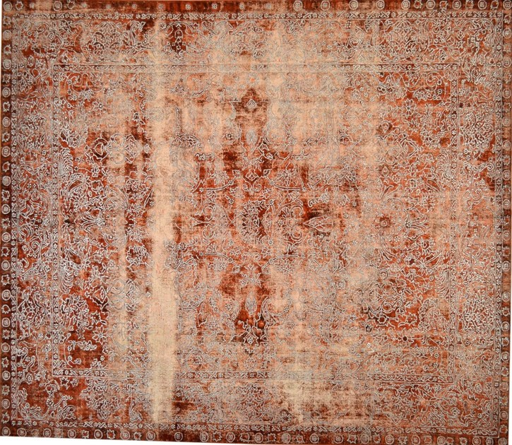 Patterned rectangular cotton rug FUSION RED & SILVER - Mohebban
