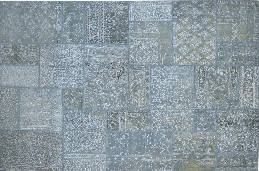 Patchwork rectangular cotton rug FUSION PATCH JEANS BLUE & SILVER - Mohebban