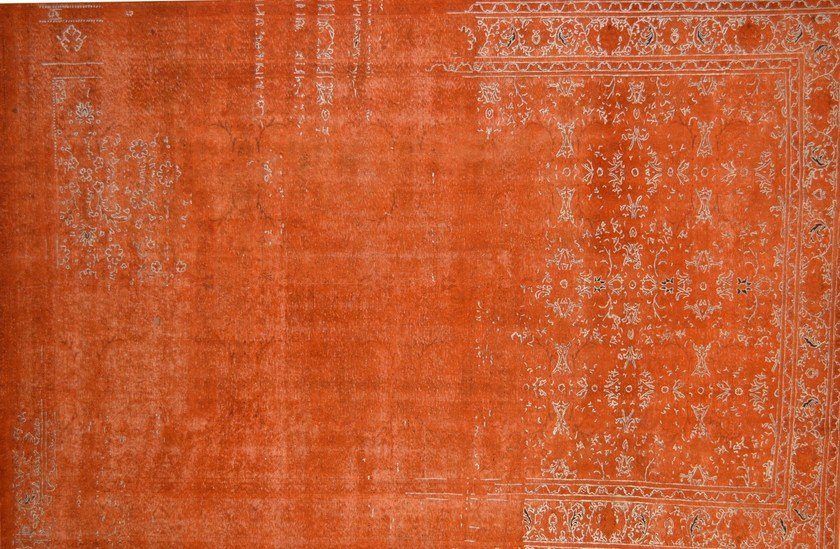 Patterned rectangular cotton rug FUSION ORANGE & SILVER - Mohebban