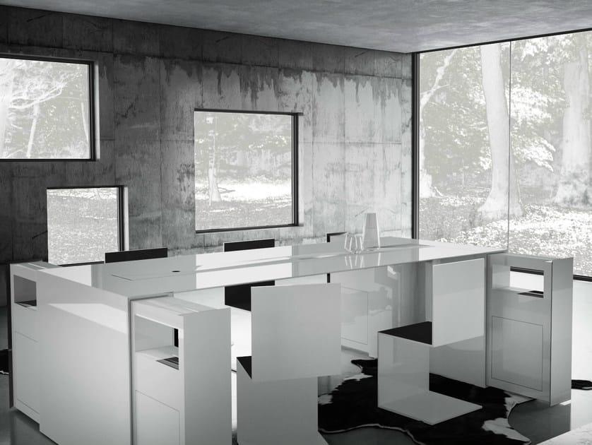 Rectangular office desk with shelves SUMMARUM by RECHTECK