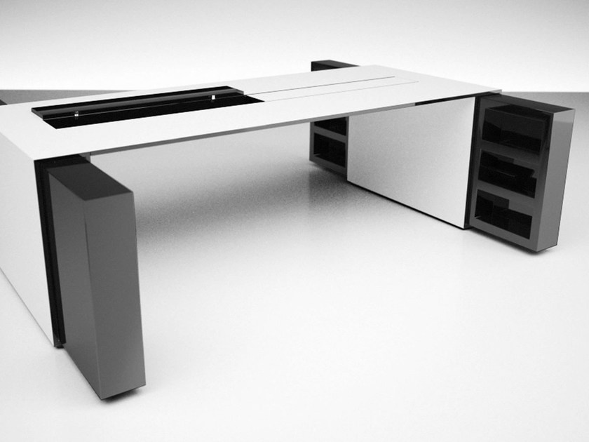 Rectangular office desk with shelves UNIVERSI - RECHTECK Felix Schwake