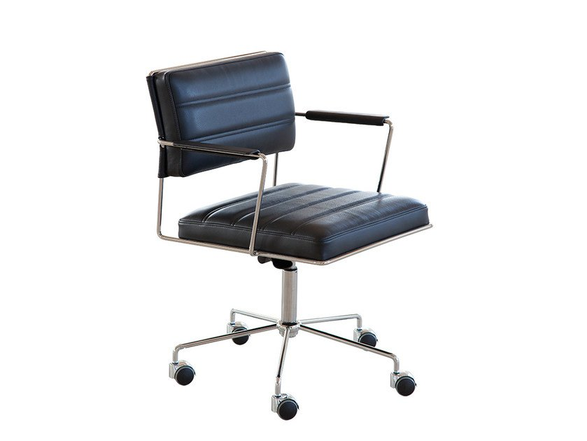 Height-adjustable task chair with 5-Spoke base with casters TIME | Task chair with casters by Onecollection