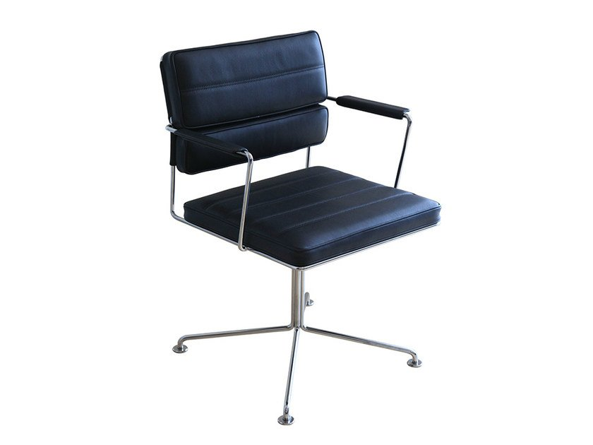 Leather task chair with 4-Spoke base with armrests TIME | Task chair - Onecollection