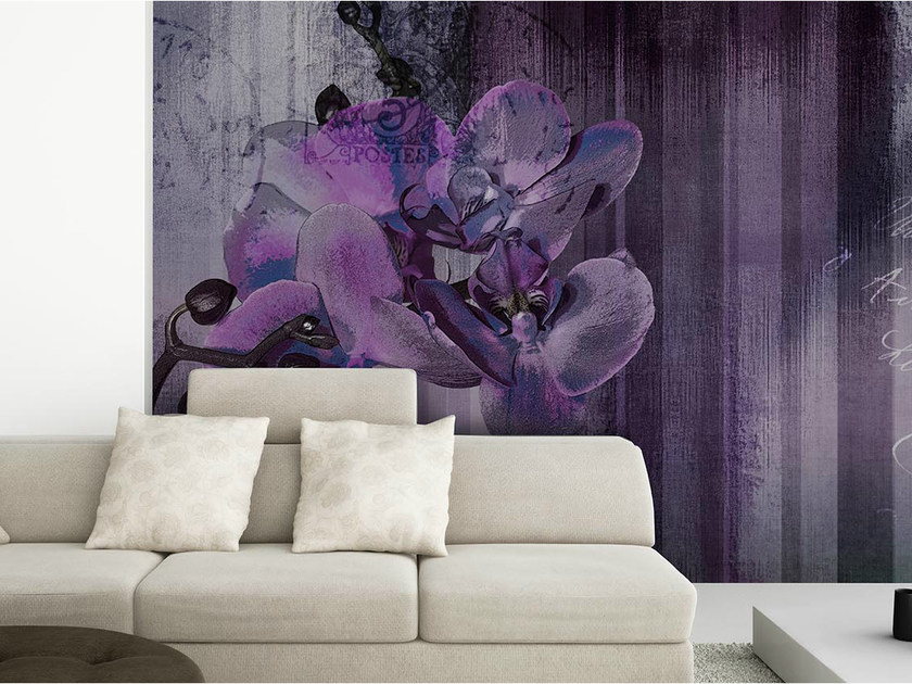 Panoramic wallpaper with floral pattern ORCHID WALLPAINT by N.O.W.  Edizioni