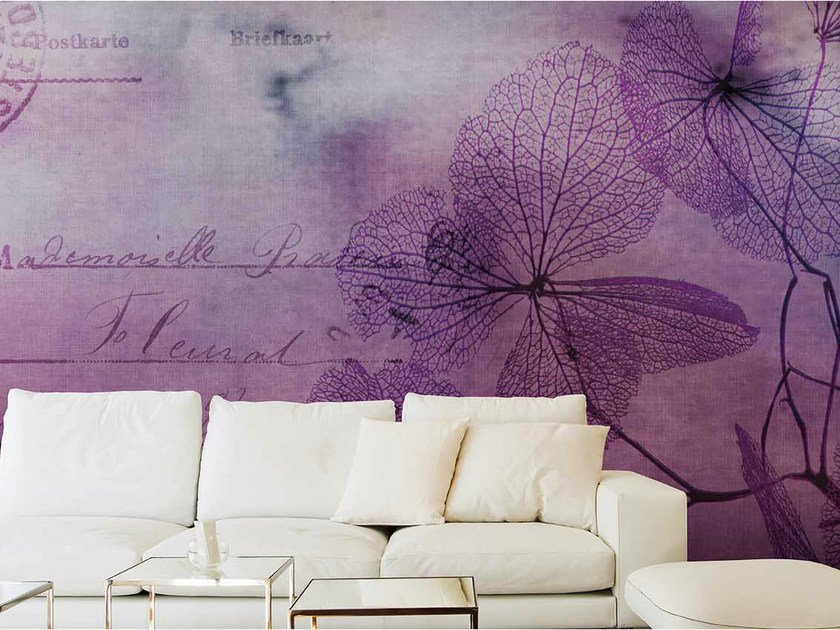 Panoramic wallpaper with floral pattern FLOWERS WATERCOLOR by N.O.W.  Edizioni