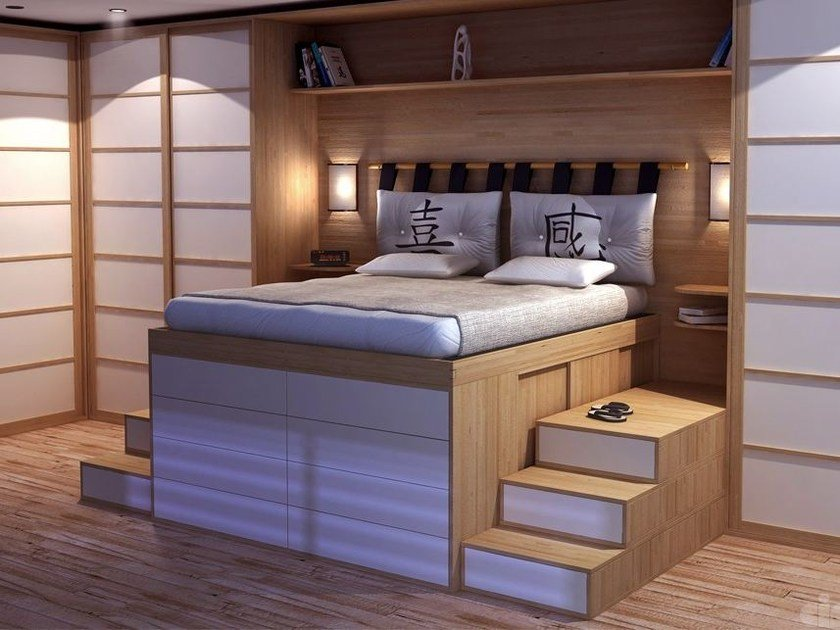 Double Lit En Bois : Double Bed with Cabinet