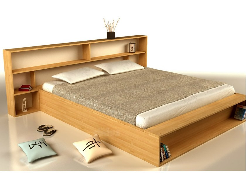 Wooden double bed with storage headboard SLIM - Cinius