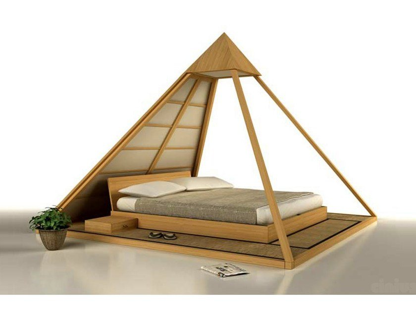 Tatami wooden double bed cheope by cinius - Cabecero de bambu ...