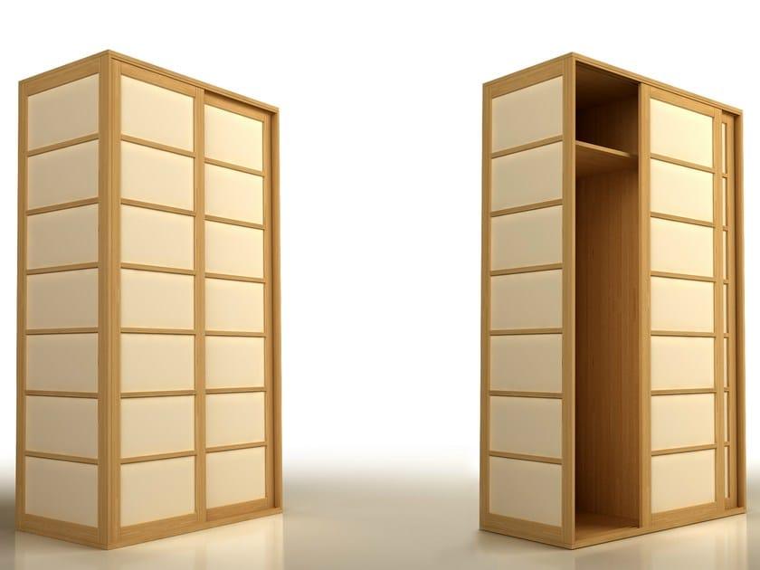 Beech wardrobe with sliding doors SHOJI | Wardrobe - Cinius