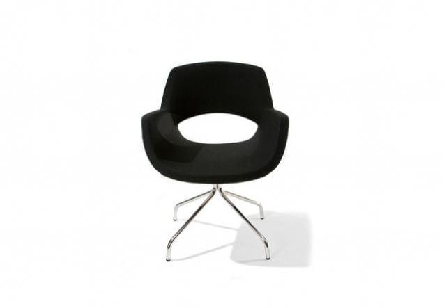 Upholstered trestle-based easy chair with 4-spoke base KIRA - Sedes Regia