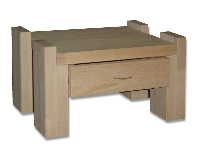 Rectangular wooden bedside table with drawers KYOTO | Bedside table with drawers - Cinius