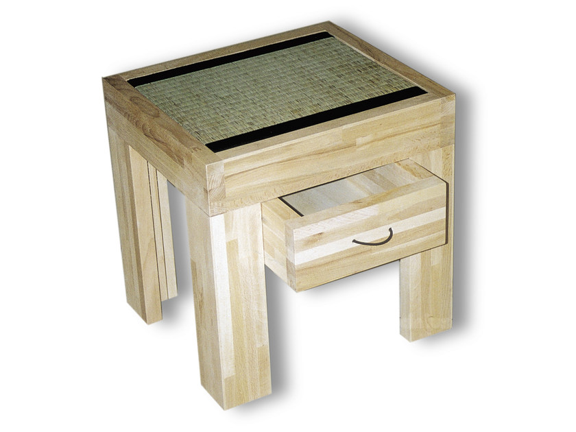 Rectangular wooden bedside table with drawers TATAMI | Bedside table with drawers - Cinius